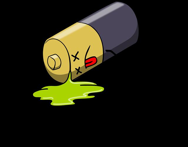 ilustrace vybité tužkové baterie